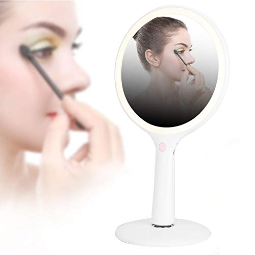 Makeup Mirror,Tricolor light source Rechargeable LED Lights 5X Magnification Desktop Double Side Cosmetic Mirror 360-Degree Free Rotation ()
