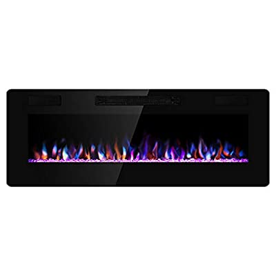 Xbeauty Wall Mounted Recessed Electric Fireplace Insert LED Multicolor Adjustable Flame Flush Mount Linear Fireplace, Ultra Thin Lightweight Fireplace Heater