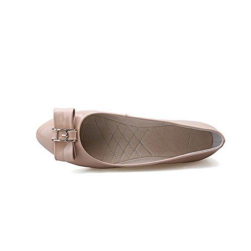 VogueZone009 Damen Ziehen auf Niedriger Absatz PU Leder Rein Rund Zehe Pumps Schuhe Aprikosen Farbe