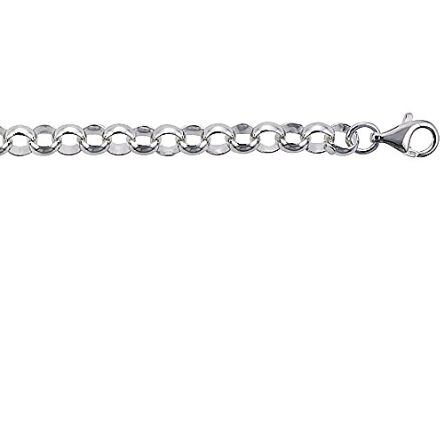 Sterling Silver Italian Rolo Chain Bracelet 8mm Nickel Free, 8 inch