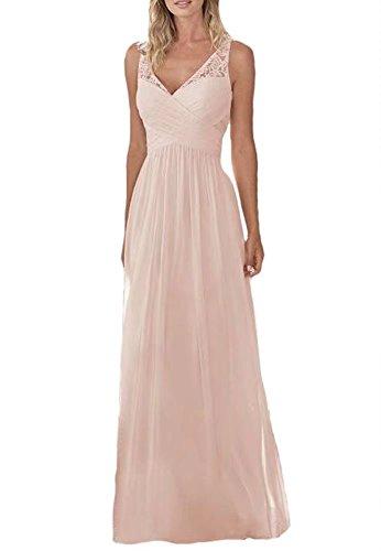 Pink V-Neck Wedding Dresses