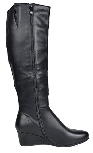 DREAM PAIRS Damen Low Wedege Fashion Boots Schwarz-PU