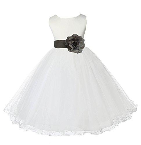 Wedding Pageant Ivory Flower Girl Rattail Edge Tulle Dress 829T 6