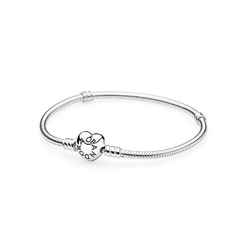Pandora Bracelet Sterling Silver w/ Heart Clasp 19cm/7.5\\\ 590719-19