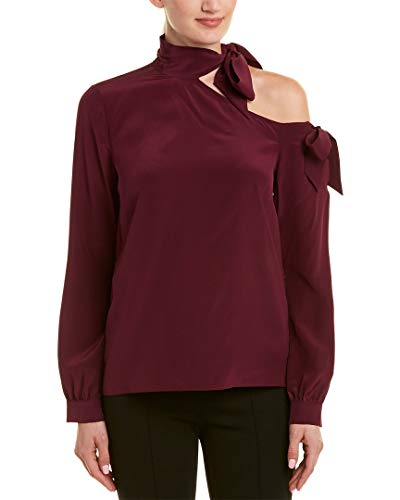 Nicole Miller Women's Solid Silk One Shoulder Blouse, Royal Plum, S ()