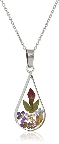 Sterling Silver Multi Pressed Flower Teardrop Pendant Necklace, 16