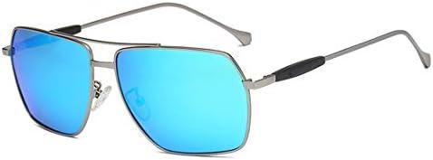YYHSND Occhiali da Sole in Metallo Polarizzati, Occhiali da Sole Tendenza Colorati Occhiali da Sole da Donna (Color : Gun Frame/Blue Lens)