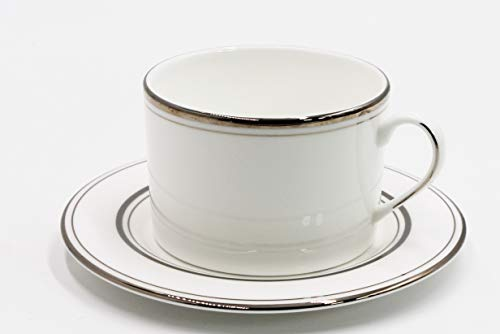 Lenox Kate Spade Library Lane Platinum Coffee Cup and Saucer