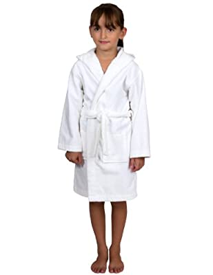 TowelSelections Kids Hooded Velour Bathrobe for Boys and Girls Made in Turkey