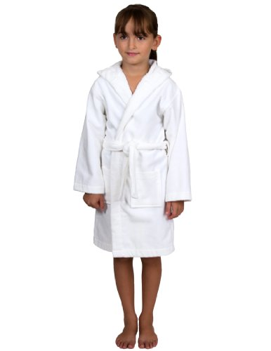 TowelSelections Little Girls' Turkish Cotton Hooded Terry Velour Kids Bathrobe Cover-up Size 6 -