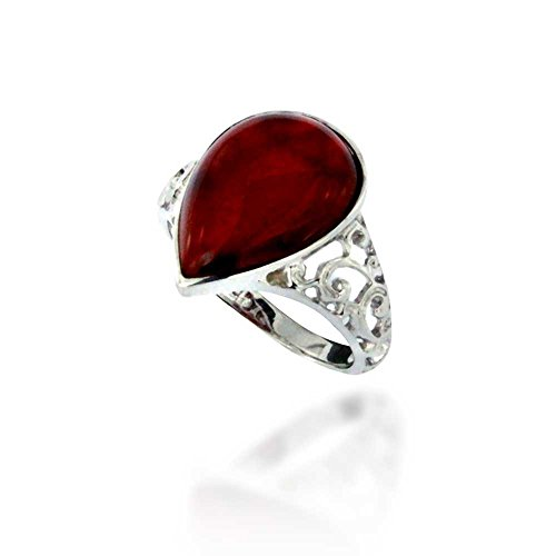 Rhodium Plated 925 Sterling Silver Filigree Pear Red Carnelian Gemstone Ring, Size 7 Carnelian Gemstone Ring