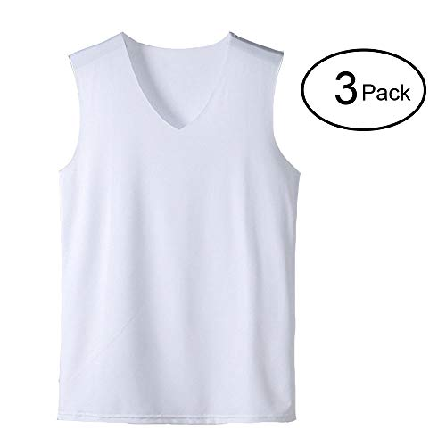 Lined V-neck Top Tank (HIENAJ Men's V Neck Undershirt Tank Top 3 Pack Soft Warm Sleeveless Thin Thermal Vest)