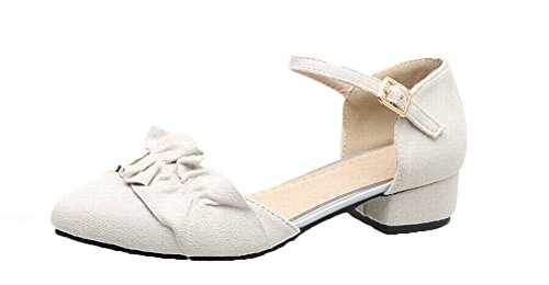 Solid Frosted Buckle Low Sandals Toe Women's Closed Beige Heels 41 WeenFashion gq0E5wBTT