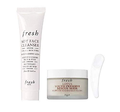Fresh Lotus Youth Preserve Rescue Mask Seaweed Radiance Facial & Soy Face Cleanser Travel Size, 2 piece Set (Free Facial Spatula Included)