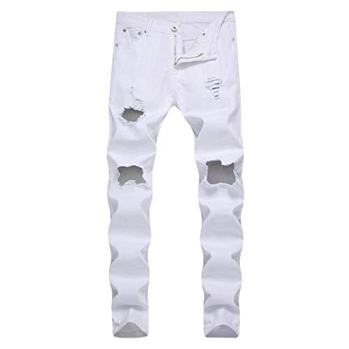 Demin Ssig Bianca Chiusura Pantaloni Workwear Skinny Uomo Distressed Slim Biker Fit Estivi Fashion Jeans tSq8OqWwfv