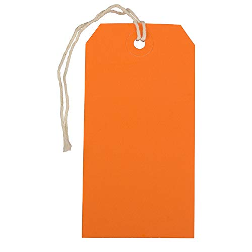 JAM PAPER Gift Tags with String - Medium - 4 3/4 x 2 3/8 - Orange - 10/Pack]()