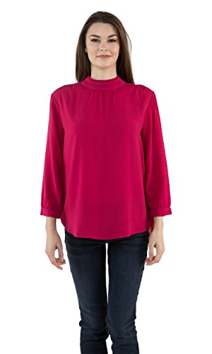 Velvet by Graham & Spencer Daroline Mock Turtleneck Challis Top (Cherry Blossom, L) Graham Cherry Blossom