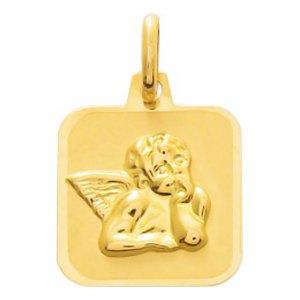 So Chic Bijoux © Pendentif Médaille Carrée Ange Gardien Raphaël Pensif Or Jaune 750/000 (18 carats)