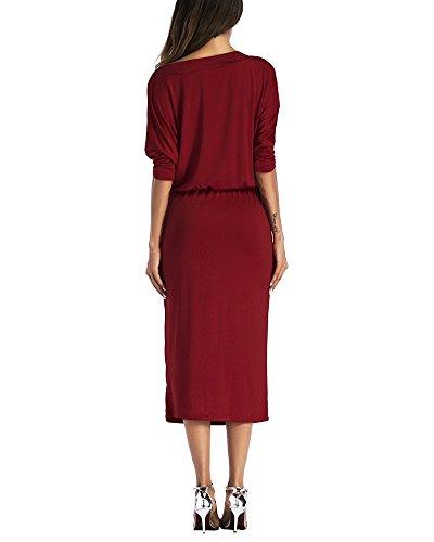 De Noche Largo Fiesta Mangas Bodycon Para Medias De Vestidos rojo Vestido Vino Irregular De Mujeres Bgx0cZg4q