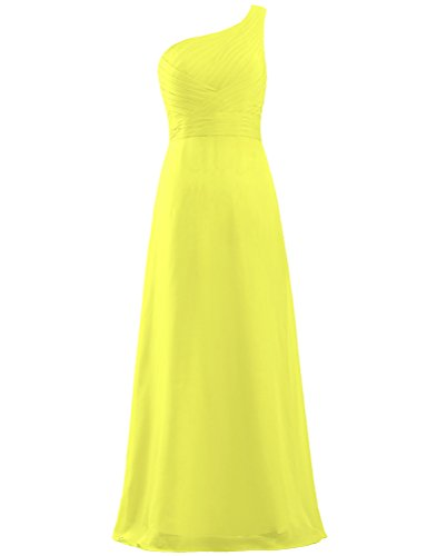 Gown Bridesmaid Dress Long Pleat Yellow Shoulder One ANTS Chiffon Women's qxHwInBqFp