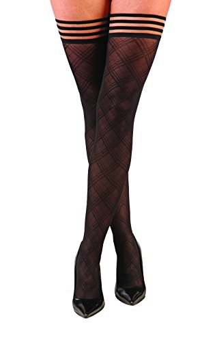 Kix`ies Thigh Highs Stockings Hold Up Nylon Pantyhose - It Doesn't Have to Glitter to be a Diamond - Tiffany (Size C) (Best Drips To Invest In)