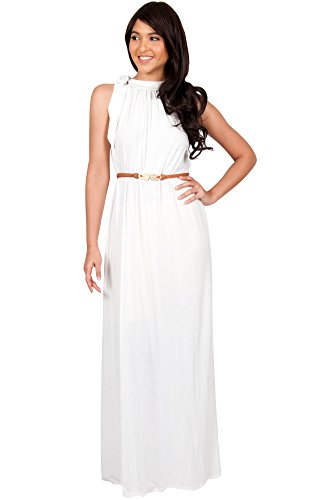 KOH KOH Womens Long Halter Sleeveless Sexy Summer Belted Evening Maxi Dress