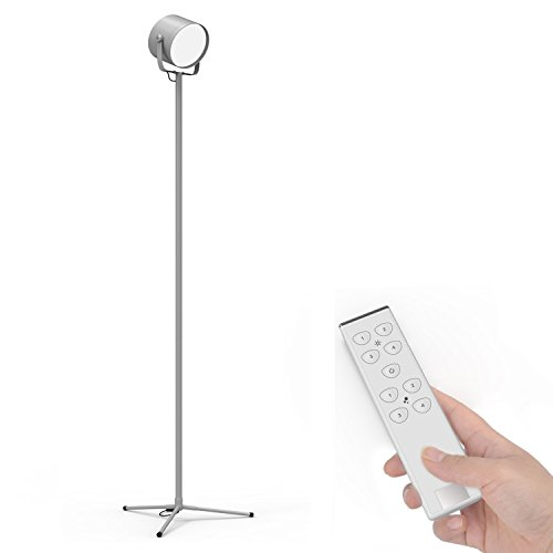 YOUKOYI F8S LED Floor Lamp Reading 576 Torchier Modern For Living Room Bedroom With Remote Control Dimmable 3000k Or 6000k Silver