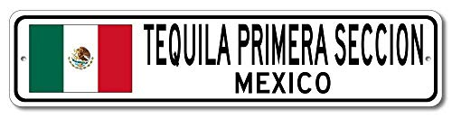 Iliogine Tequila Primera Seccion Mexico Mexican Flag Sign Mexico Custom Flag Sign Novelty Signs Men Street Sign Home Decor Metal Aluminum Sign ()
