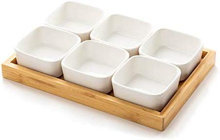 フルーツボウル 木製トレイ、大容量のパーティションデザインのキッチンカウンターとリビングルームスナック菓子ナッツキャンディープレートディスプレイスタンド付きセラミックナットボックスドライフルーツボウルストレージラック (Size : 4 grid - 19.5x19.5x3cm)
