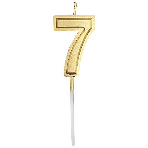 Gold Glitter Happy Birthday Numeral Candles Number 7 Cake Topper Decoration for Adults/Kids Party -Gold Number 7]()