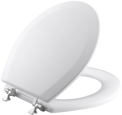 KOHLER K-4726-T-0 Triko Round-front Molded-Wood Toilet Seat with Polished Chrome Hinges, White - Kohler Round Front Toilet