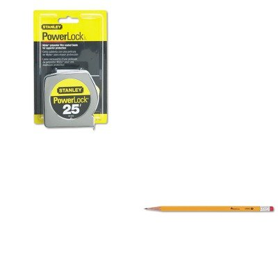 KITBOS33425UNV55400 - Value Kit - Powerlock II Power Return Rule, 1quot; x 25 ft., Chrome/Yellow (BOS33425) and Universal Economy Woodcase Pencil ()