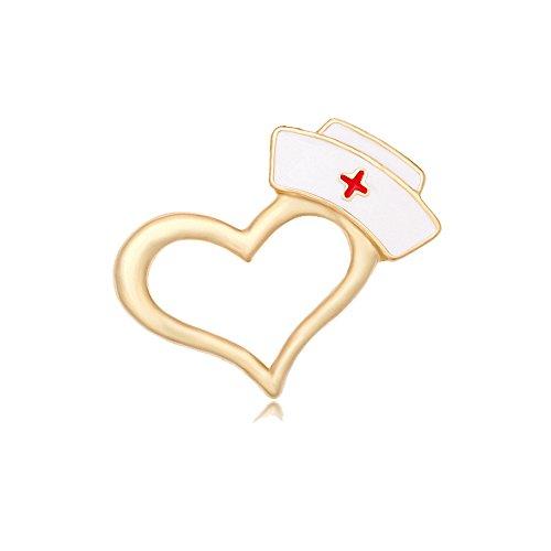 MANZHEN Enamel Nurse Hat Heart Lapel Pin Brooch for Doctor Nurse (Gold)