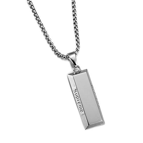 MADY Hip Hop Rapper Necklace 14K Gold Plated Supreme Bullion 316L Stainless Steel Pendant (Silver 002) (14k Brick)