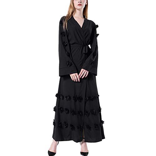Maxi Color en L con en Coat tamaño abierto Invierno Chaqueta floral Abrigo cinturón Muslem grandes tallas Abrigos 3D largos ZFFde Black xwYTgRnq