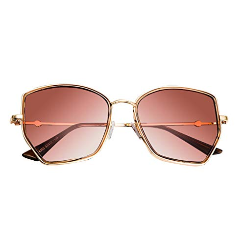 Myoumobi_ Unisex Polarized Sunglasses Retro Irregular Sun Glasses for Women and Men Colorful Mirror Glasses Gold