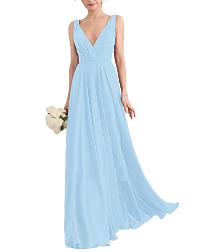- Nicefashion Women's Straps V Neck Pleated Ruffles A Line Long Chiffon Bridesmaid Dresses Light Blue US10