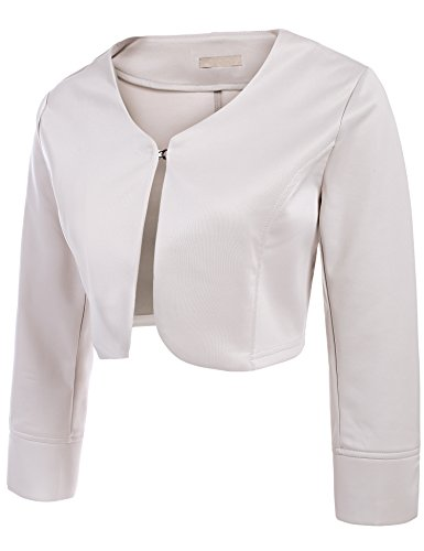 Women's Slim Long Sleeve Cropped Bolero Blazer Cardigan Tops ( M, Beige )