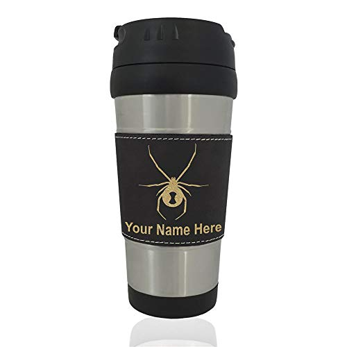 Travel Mug, Black Widow Spider, Personalized Engraving Included (Black) ()