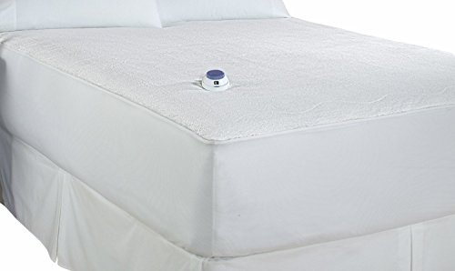 Soft Heat Micro-Plush Top Low-Voltage Electric Heated Full Mattress Pad, White (Full) by Mattress Pad