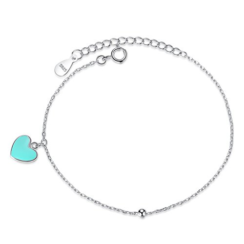 (YHDBH Valentine's Day Blue Enamel Heart Round Ball Women Bracelet 925 Sterling Silver Chain Bracelet)
