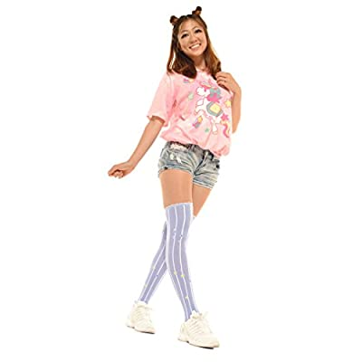 Lolta Charm Alice Collection Over Knee Socks-Moon Stars-Purple at Women's Clothing store