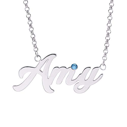 (LAOFU Personalized Name Necklace with Birthstone Custom Made Necklace with Name Pendant 14k Gold Gifts for Women (A Name with Birthstone for Silver))