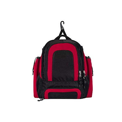 Sports Pro-Tech Equipment Travel Backpack Bag for Baseball, Softball and Other Activities, by The Northwest Company, Black and Red, 20
