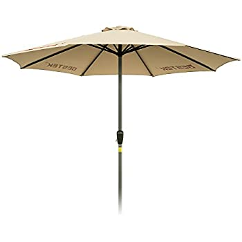 Patio Umbrella, BESTEK Rust Free 9ft Outdoor Market Umbrella With Crank,  8 Ribs, Beige