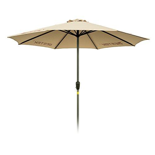 Patio Umbrella, BESTEK Rust Free 9ft Outdoor Market Umbrella with Crank, 8-Ribs, Beige