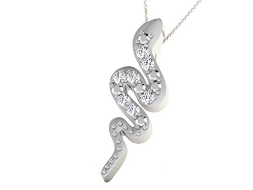 White Gold Diamond Snake Pendant - Smjewels 0.01 Ct Sim Diamond Snake Shape Pendant with 18
