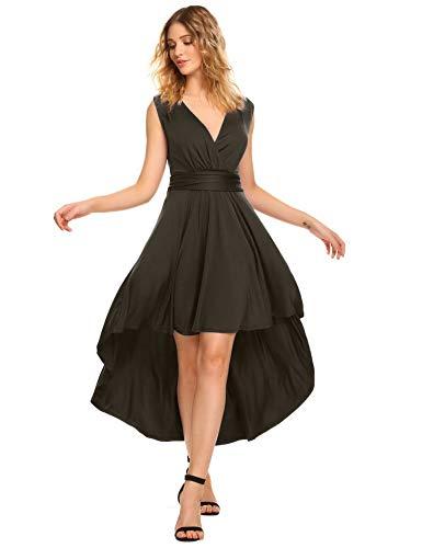 ACEVOG Women Cocktail Dress Sleeveless V-Neck Ruched Waist Slimming Maxi Evening Party Dress
