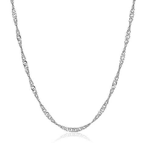 Cabochon Chain Necklace (1pc x Top Quality 24 inch Sterling Silver Singapore Necklace Chain (1.4mm width) with Clasp #SS155)