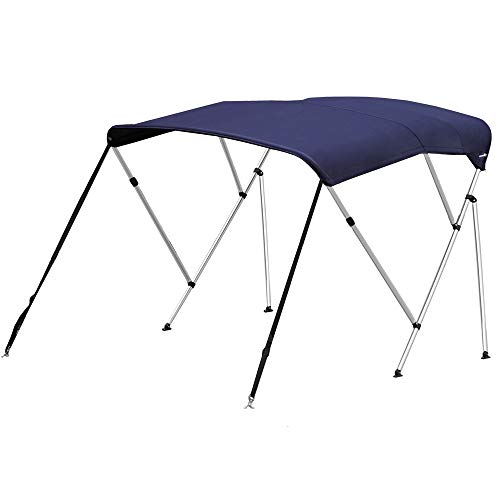 Oceansouth 3 Bow Bimini TOP Boat Cover with Rear Poles & Integrated Sock, Designed and Assembled in USA (Blue, 73